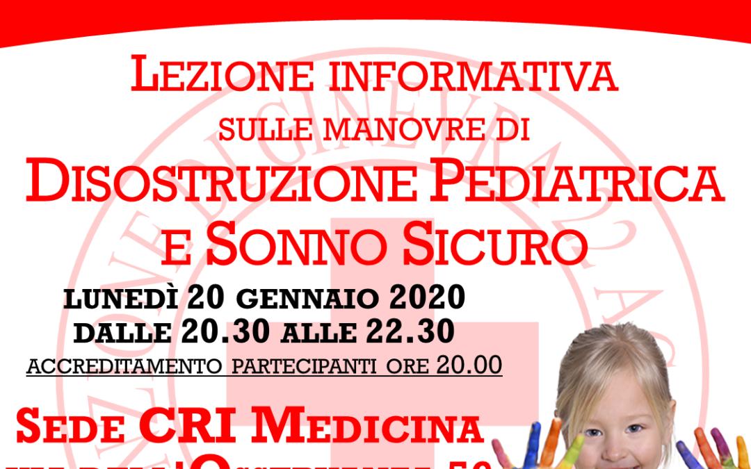 Lezione informativa sulle manovre di disostruzione pediatrica e sonno sicuro a cura della Croce Rossa Italiana