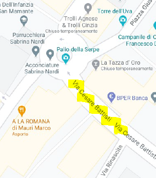 Via Battisti: chiusura dal 22/02/2021, con svolta in Via Rinascita