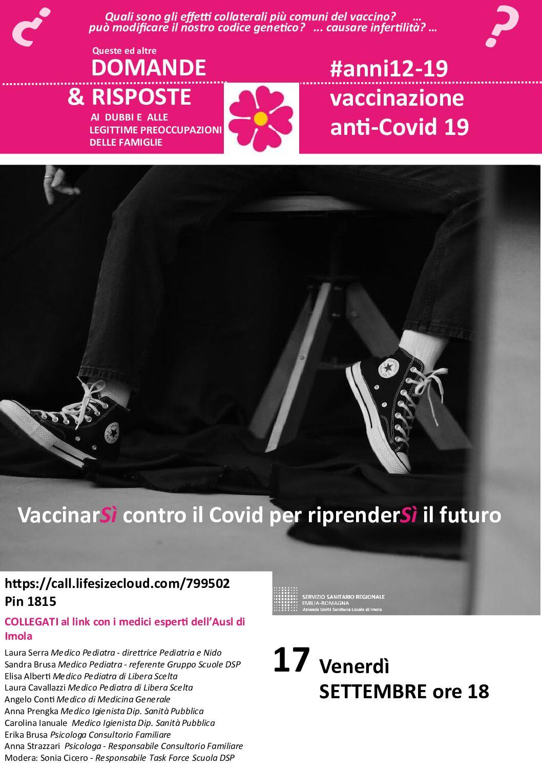 VaccinarSÌ contro il Covid: videocall aperta a scuole e genitori venerdì 17 settembre ore 18